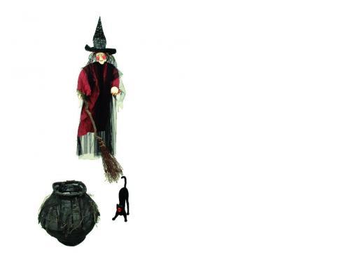 Halloween Hexen-Set mit Kessel 145 cm