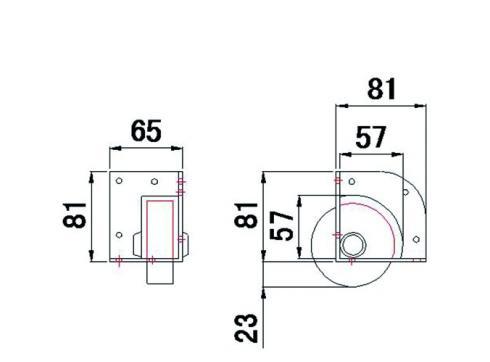 Eckrolle schwarz 104x81x65mm