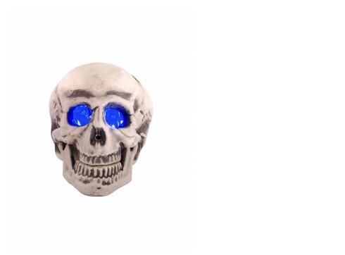 LED-Totenkopf blau Bewegungsd.+ Sound