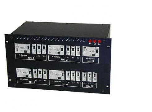 """Litecraft Stromverteiler 1x63a Cee auf 3x32a Cee + 3x Schuko 19"""""""