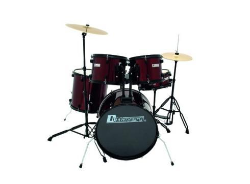 DIMAVERY DS-200 Schlagzeug-Set weinrot