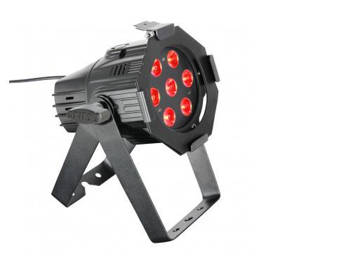Cameo Studio Mini PAR - 7 x 8 W QUAD Colour LED RGBW PAR Scheinwerfer in schwarzem Gehäuse